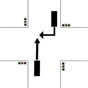 【画像】信号のある交差点で右折車と直進車が衝突