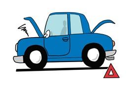 【イラスト】三角停止表示板を設置した故障車