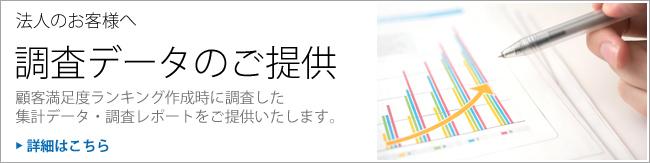 調査データのご提供 顧客満足度ランキング作成時に調査した、集計データ・調査レポートごご提供いたします。